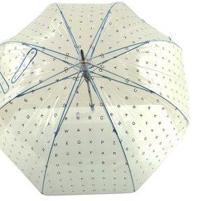 Ομπρέλα Clima Αυτόματη Διάφανη Με Γράμματα Μπαστούνι 34002-BLUE