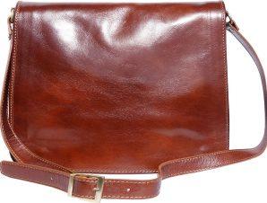Δερματινη Τσαντα Ταχυδρομου Mirko GM Firenze Leather 6517 Καφε