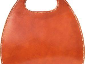 Τσαντα Χειρος Δερματινη Οβαλ Firenze Leather 6881 Μπεζ