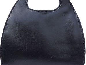 Τσαντα Χειρος Δερματινη Οβαλ Firenze Leather 6881 Μαύρο