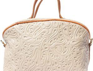 Τσαντα Χειρος Δερματινη Tarsilla Firenze Leather B301 Ανοιχτό Μπεζ/Ταμπα
