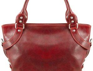 Γυναικεία Τσάντα Δερμάτινη Ilenia Κόκκινο Tuscany Leather
