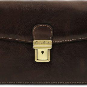 Ανδρικό Τσαντάκι Δερμάτινο Tommy Καφέ σκούρο Tuscany Leather