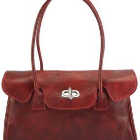 Δερμάτινη Τσάντα Χειρός Lady Firenze Leather 6544 Σκούρο Κόκκινο