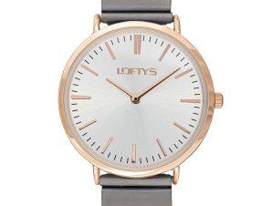 Ρολόι Loftys Corona Γκρι Μπρασλέ και Ασημί Καντράν Y2016-6