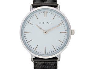Ρολόι Loftys Corona με Μαύρο Μπρασελέ Λευκό καντράν Y2016-8