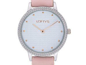 Ρολόι Loftys Cassiopi Ροζ Λουράκι με Λευκό Καντράν και Κρύσταλλα Y2018-12