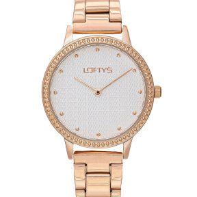 Ρολόι Loftys Cassiopi Ροζ Χρυσό Μπρασελέ με Λευκό Καντράν και Κρύσταλλα Y2018-1