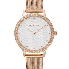 Ρολόι Loftys Cassiopi Ροζ Χρυσό Μπρασελέ με Λευκό Καντράν και Κρύσταλλα Y2018-5