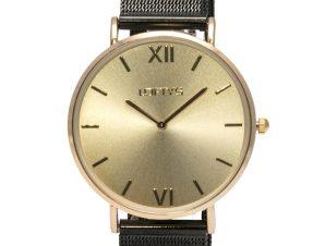 Ρολόι Loftys Vintage με μαύρο μπρασελέ και χρυσό καντράν Y3406-46