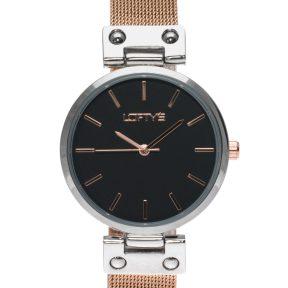 Ρολόι Loftys Kelly με ροζ χρυσό μπρασελέ και μαύρο καντράν Y3409-15