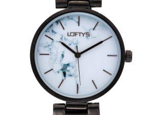 Ρολόι Loftys Kelly με μαύρο μπρασελέ και λευκό καντράν Y3409-49