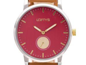 Ρολόι Loftys Scorpio με καφέ λουράκι και κόκκινο καντράν Y3411-12