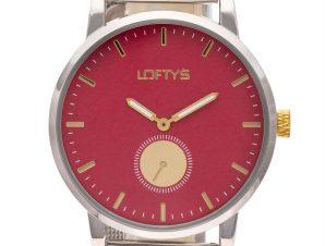 Ρολόι Loftys Scorpio με ασημί μπρασελέ και κόκκινο καντράν Y3411-16