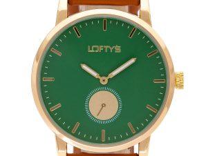 Ρολόι Loftys Scorpio με καφέ λουράκι και πράσινο καντράν Y3411-3