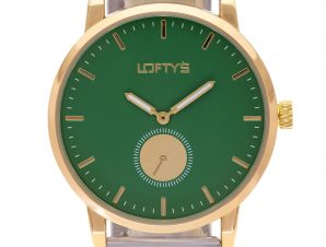 Ρολόι Loftys Scorpio με ασημί μπρασελέ και πράσινο καντράν Y3411-4