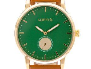 Ρολόι Loftys Scorpio με καφέ λουράκι και πράσινο καντράν Y3411-5